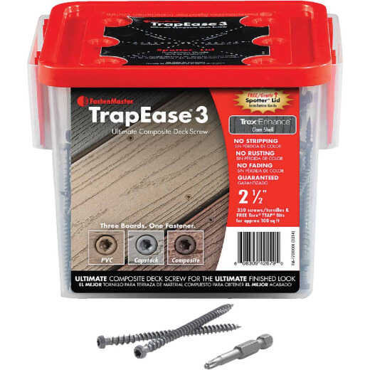 Fastenmaster TrapEase 3, #10 x 2-1/2 In. Brown Ultimate Composite Deck Screw (350 Ct. Pail)