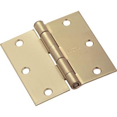 National 3-1/2 In. Square Satin Brass Door Hinge