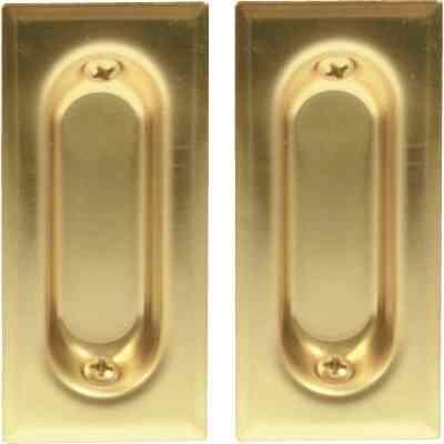 Johnson Hardware 3 In. Rectangular Brass Flush Pocket Door Pull (2-Count)