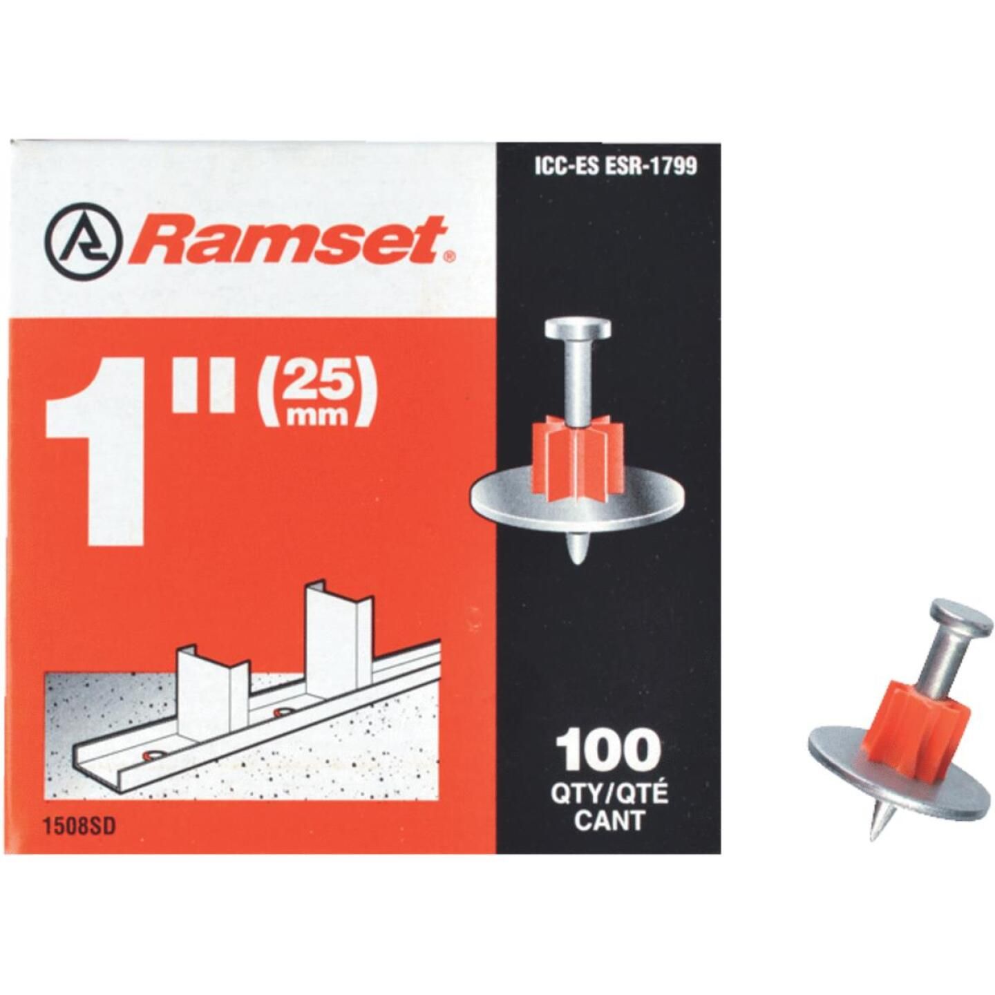 Ramset 1 In. Fastening Pin with Washer (100-Pack) Image 1