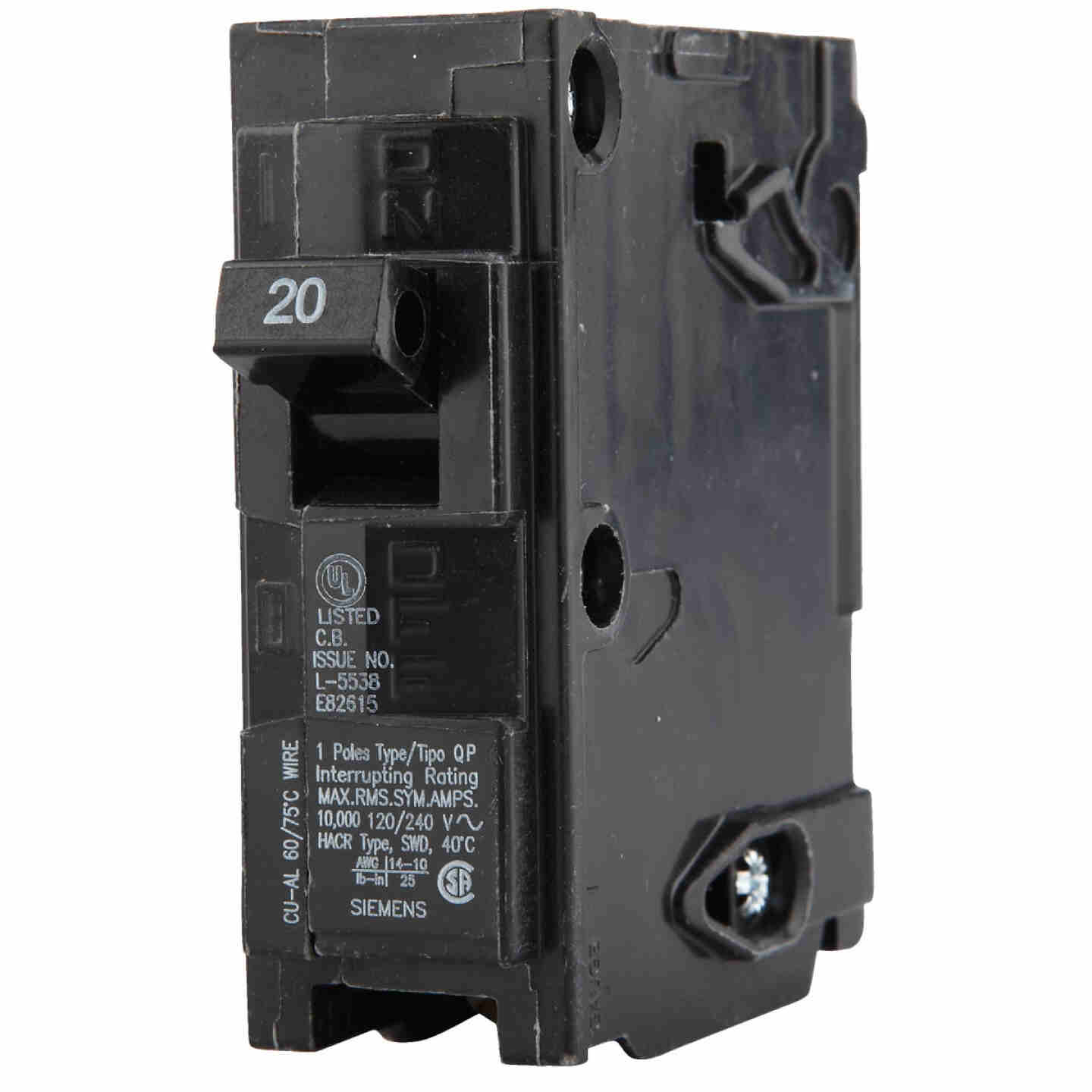 Connecticut Electric 20A Single-Pole Standard Trip Interchangeable Packaged Circuit Breaker Image 4