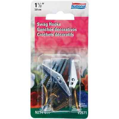 National 1-1/2 In. Antique Brass Die Cast Swag Hook (2-Pack)