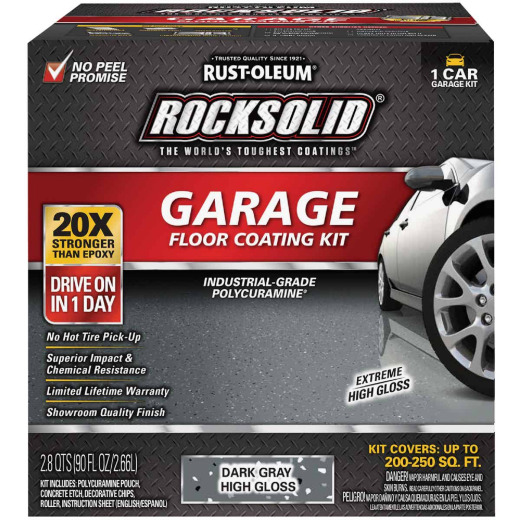 Rust-Oleum RockSolid VOC Free Garage Floor Coating Kit, Dark Gray, 90 Oz.